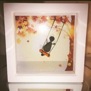 Child on swing, pebble art, gifts