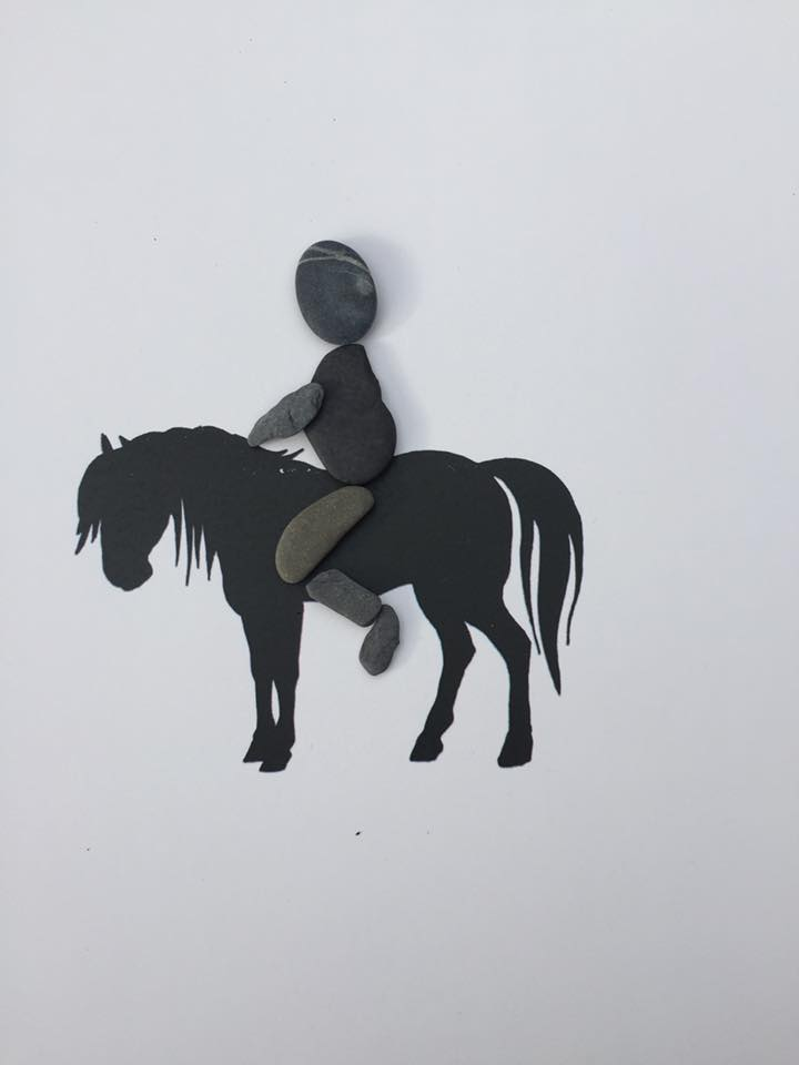 horse, rider, present, gifts, personalised, pebble art