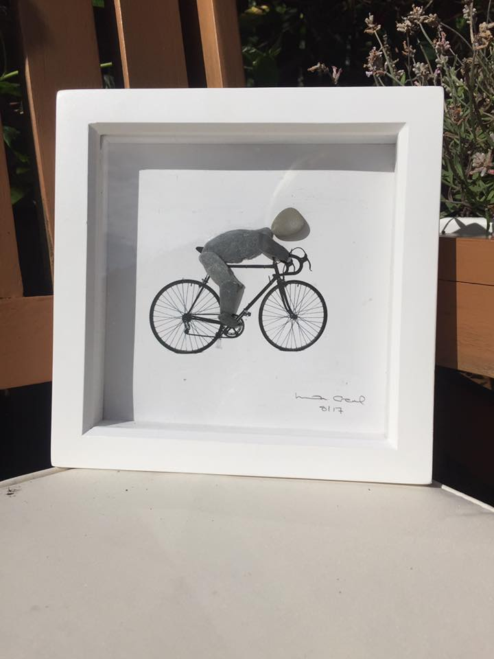 cyclist, pebble art, bike